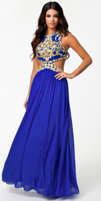 dress prom dress arabic maxi dress elegant royal blue royal blue dress cut-out embellished dress asos blue and gold dress gold glitter two piece dress set long prom dress prom gown blue and gold