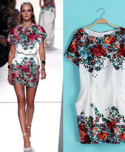 2014 new women positioning printed ribbon wholesale European style three quarter-sleeved dress, WD0116 | Amazing Shoes UK