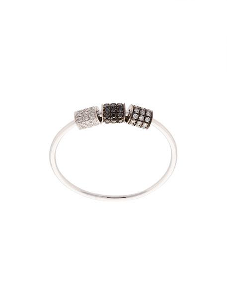 EF COLLECTION women triple ring gold white grey metallic jewels