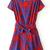 Red Short Sleeve Belt Geometric Print Crop Jumpsuit - Sheinside.com