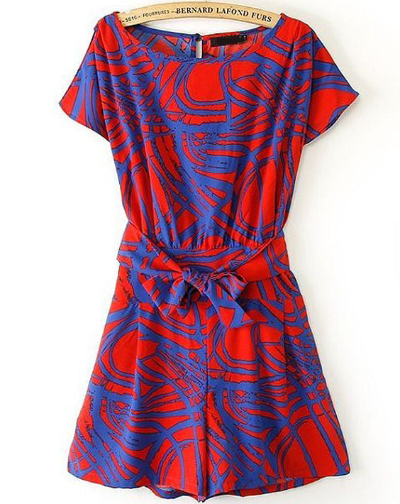 Red Short Sleeve Belt Geometric Print Crop Jumpsuit - Sheinside.com