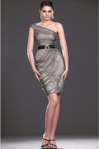 dress stunning one shoulder ruffles backless petite cocktail dresses in gray australia
