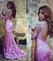 pink prom dress,prom dress,mermaid prom dress,wedding dress,dress,pink,lace,backless,long sleeves,mermaid,gown