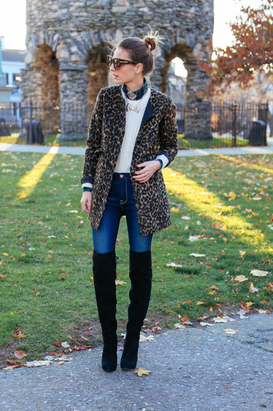 leopard print jeans blogger prosecco and plaid sunglasses jewels thigh high boots
