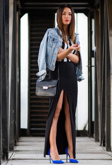 skirt jeans jacket top black long skirt shoes