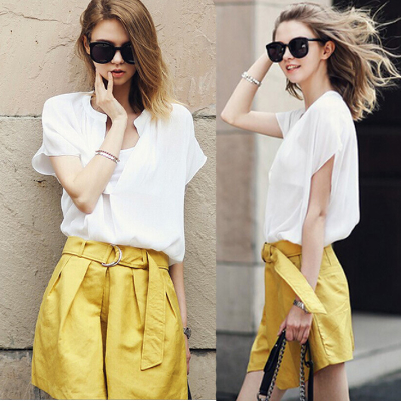 2014 summer new fashion casual 2 piece set women pant skirt top short sleeved chiffon women 2 piece shorts set plus size s/m/l on Aliexpress.com