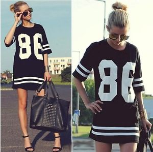 Women's Baseball T Shirt Top Short Sleeve Loose Black Plus size Mini shirtdress