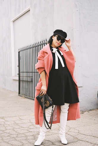 coat hat tumblr pink coat long coat oversized oversized coat fisherman cap dress black dress boots white boots