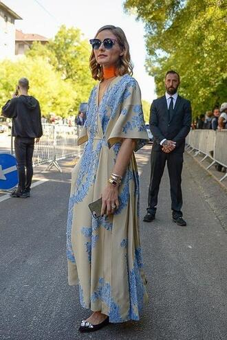sunglasses dress maxi dress olivia palermo blogger streetstyle milan fashion week 2017