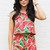 Watermelon Print Crop Top & High Waisted Shorts Co-ord Set in Green & Red