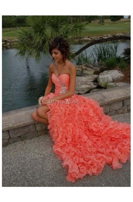Line chiffon prom dress