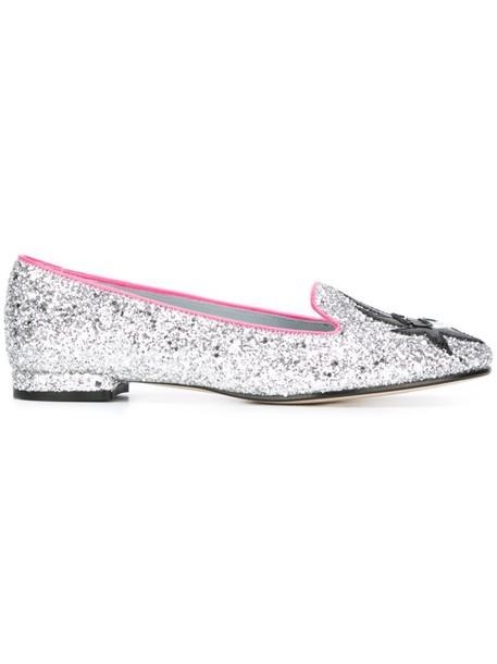 glitter women slippers leather grey metallic shoes