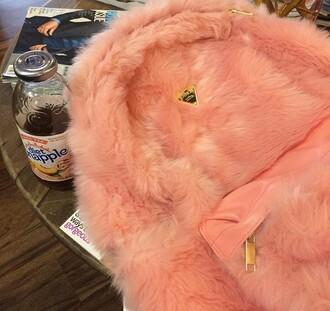 bag backpack pink fluffy fur baby pink gold