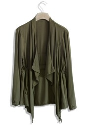 top,chicwish,olive green,waterfall