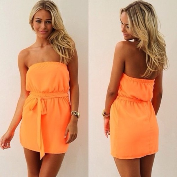 Dress: orange dress, orange, summer, summer dress, cocktail dress ...