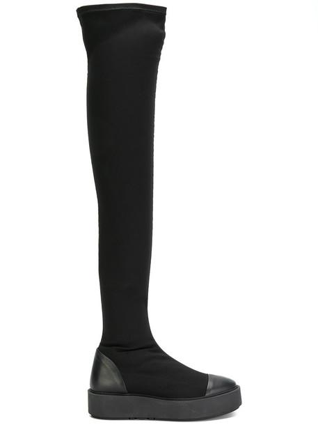 high women platform boots leather black shoes