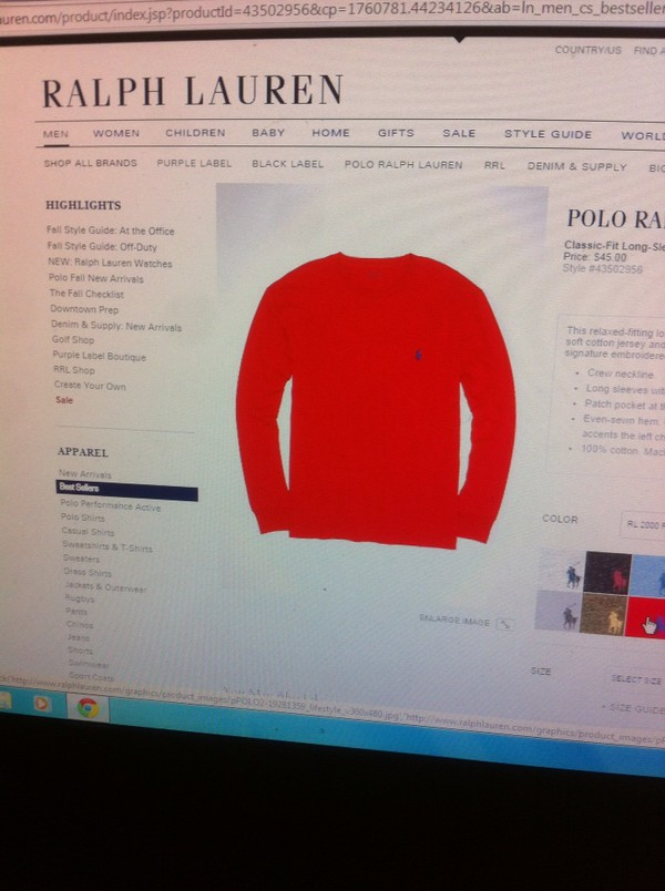 top red polo sweatshirt