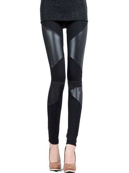 Partial Leather Leggings