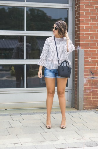 life & messy hair blogger top shorts jewels bag sunglasses shoes sandals high heel sandals denim shorts