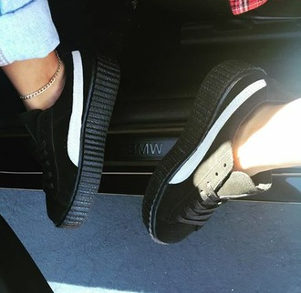 shoes jasminejanine_ rihanna puma creepers fenty x puma $$$$ black x white bmw lace up days in cali :)