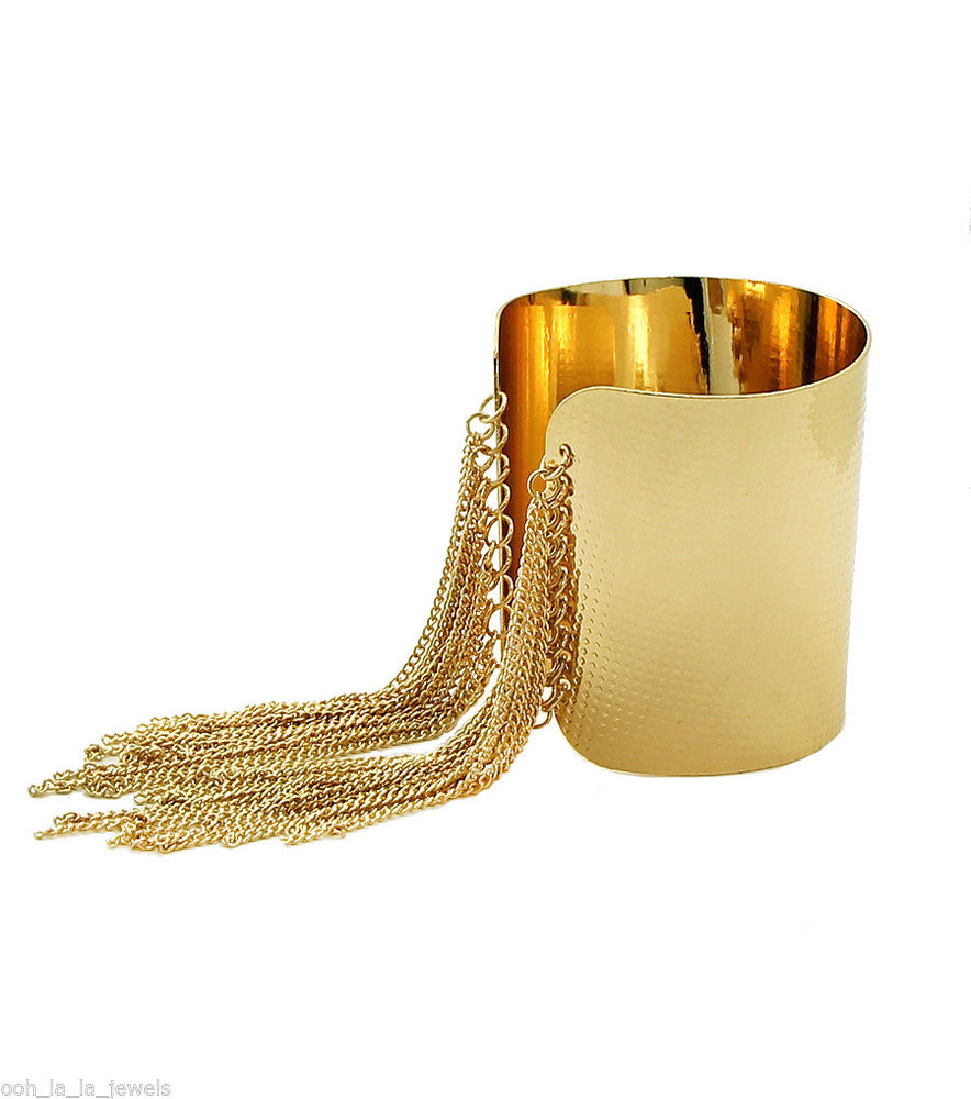 Trendy Glam Gold Textured Tassel Hang Time Chain Link Cuff Fashion Bracelet | eBay