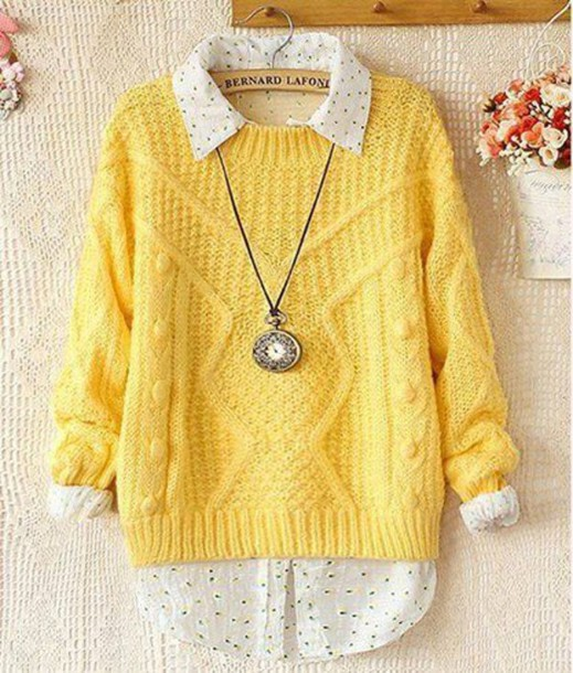 Sweater: clothes, yellow, cute, tumblr, hair accessory, blouse ...