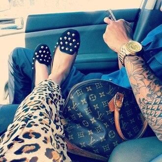 bag loafers studded shoes leopard print louis vuitton