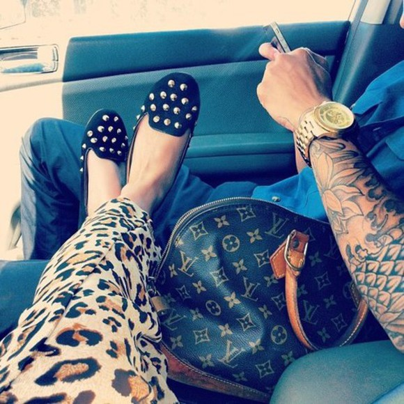studded shoes bag loafers leopard print louis vuitton