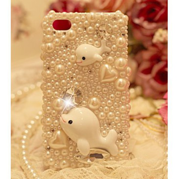 phone cover sparkle pearl whales heart shimmer phone cover