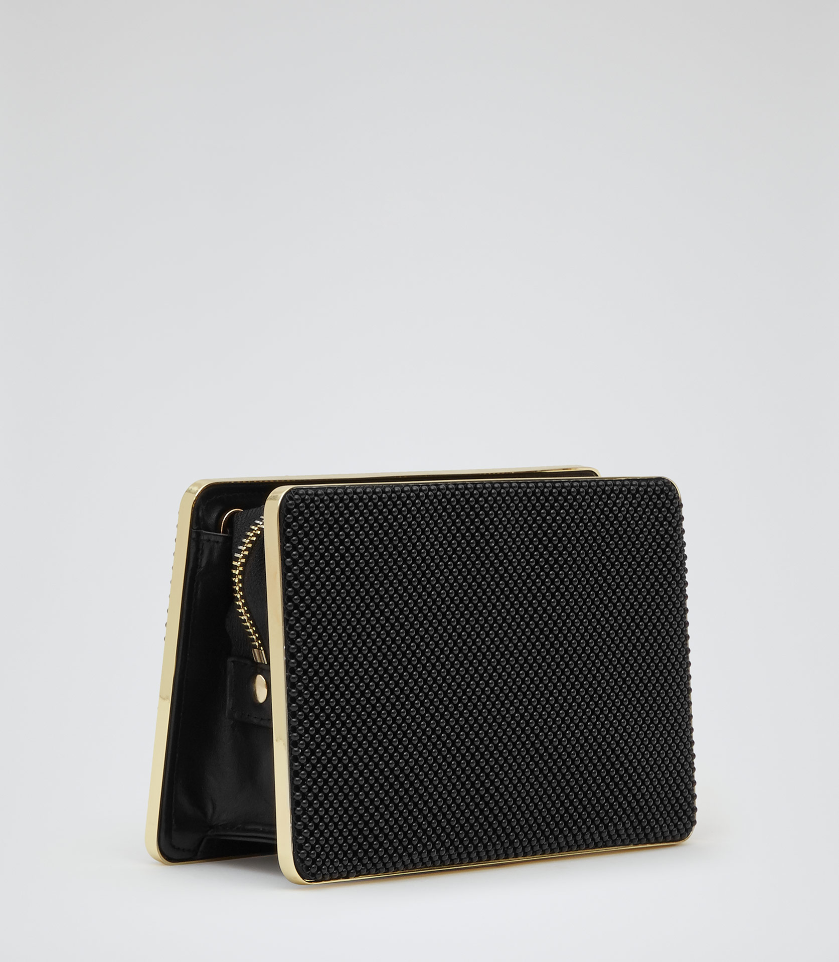 Clasby Black Beaded Zip Across Clutch - REISS
