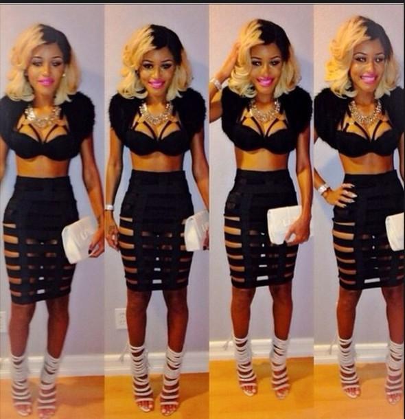 skirt caged bandage jai nice top shoes crop tops bralette black heels