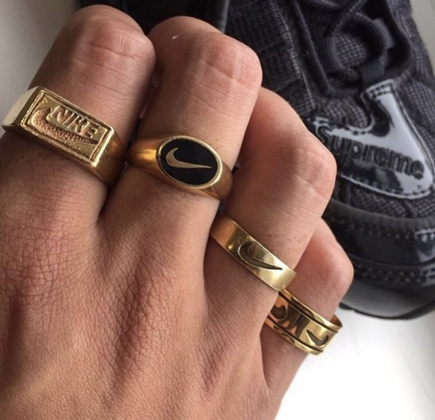 jewels nike gold ring jewelry rings brand wheretoget