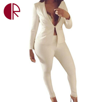 jumpsuit suit blazer white