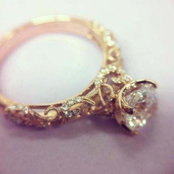 jewels diamond ring ring engagement ring hipster gold