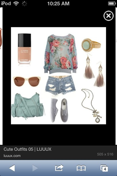 shorts outfit sweater shirt flowers nail polish purse shoes feathers gold pink turquoise roses clothes floral jumper blue bag floral earings floral sweater necklace jewels sunglasses summer outfits chanel vans ring earrings t-shirt ripped shorts blue ring nude nail polish teal bag accessories blouse top short ears forever 21 mint lipstick