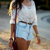 denim shorts,cropped,white crop tops,mini bag,lace top,long sleeves,jewels,spring outfits,summer outfits,burgundy,shorts,denim,shirt