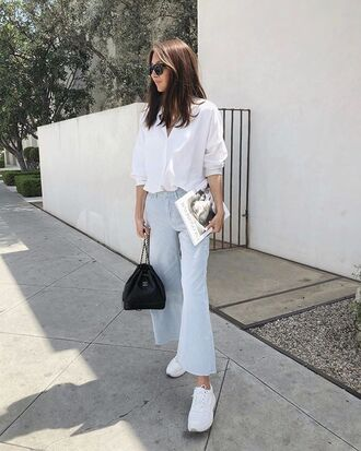 jeans denim flare jeans black bag bag white shirt shirt sunglasses sneakers white sneakers