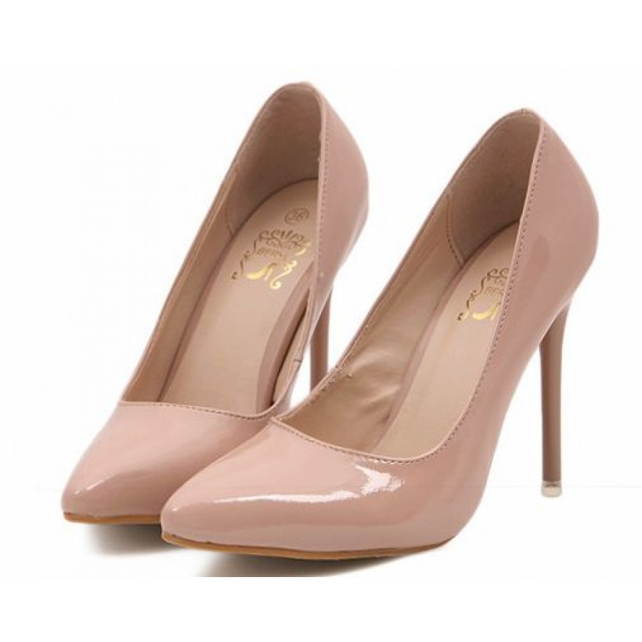 Patent Nude High Heel Court Shoes