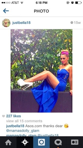 dress lace dress royal blue dress bustier dress gorgeous