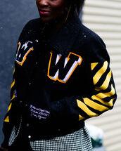 jacket,tumblr,bomber jacket,black jacket,baseball jacket,nyfw 2017,fashion week 2017,fashion week,streetstyle