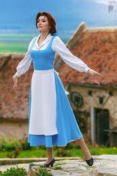 dress,halloween outfit,beauty and the beast,belle,midi dress,blue midi dress,white sleeveless,white apron,shoes,black shoes