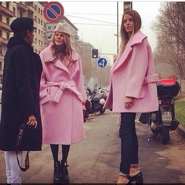 Pink Lapel Coat | Choies