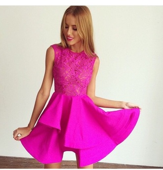 dress cute dress pink dress peplum outfit prom dress see through lace dress lace top fashion style neon