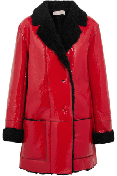 CHRISTOPHER KANE coat leather red