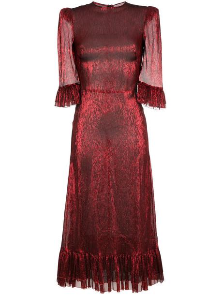 dress metallic women silk red