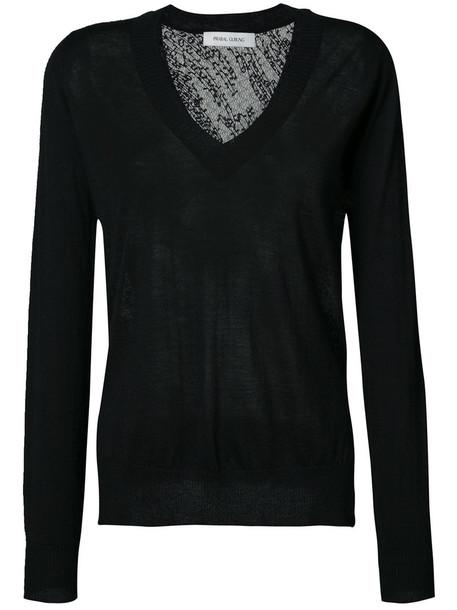 Prabal Gurung jumper back women lace black silk knit sweater