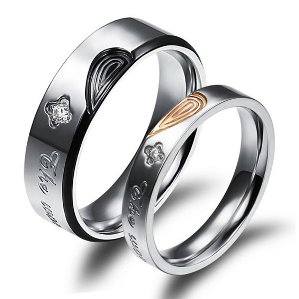 Personalized Titanium Hearts Wedding Rings Set for 2 Personalized