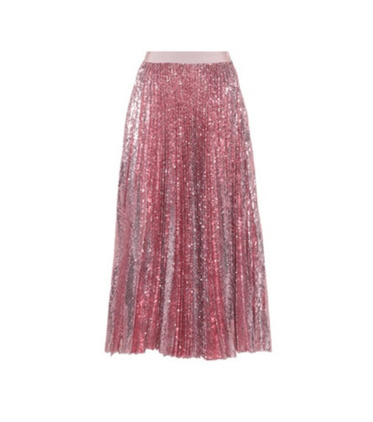 MSGM Pleated sequinned skirt in pink