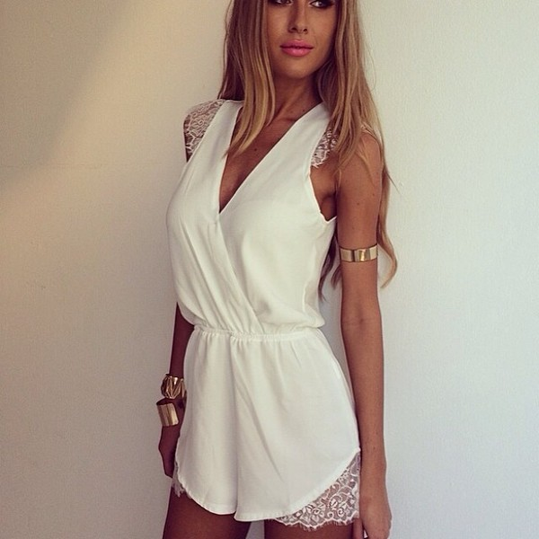 jumpsuit summer dress summer woman's clothing white ebonylace.storenvy ebonylace.storenvy ebonylace247 ebonylace-streetfashion romper lace shorts romper lace romper white romper sleeveless sleeveless romper dress blouse white jumpsuit women white dress dress lace dress jewels v neck