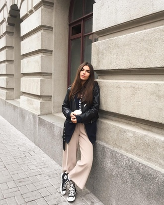 pants tumblr wide-leg pants black leather jacket leather jacket black jacket top striped top stripes nude pants converse high top converse black converse sneakers black sneakers high top sneakers